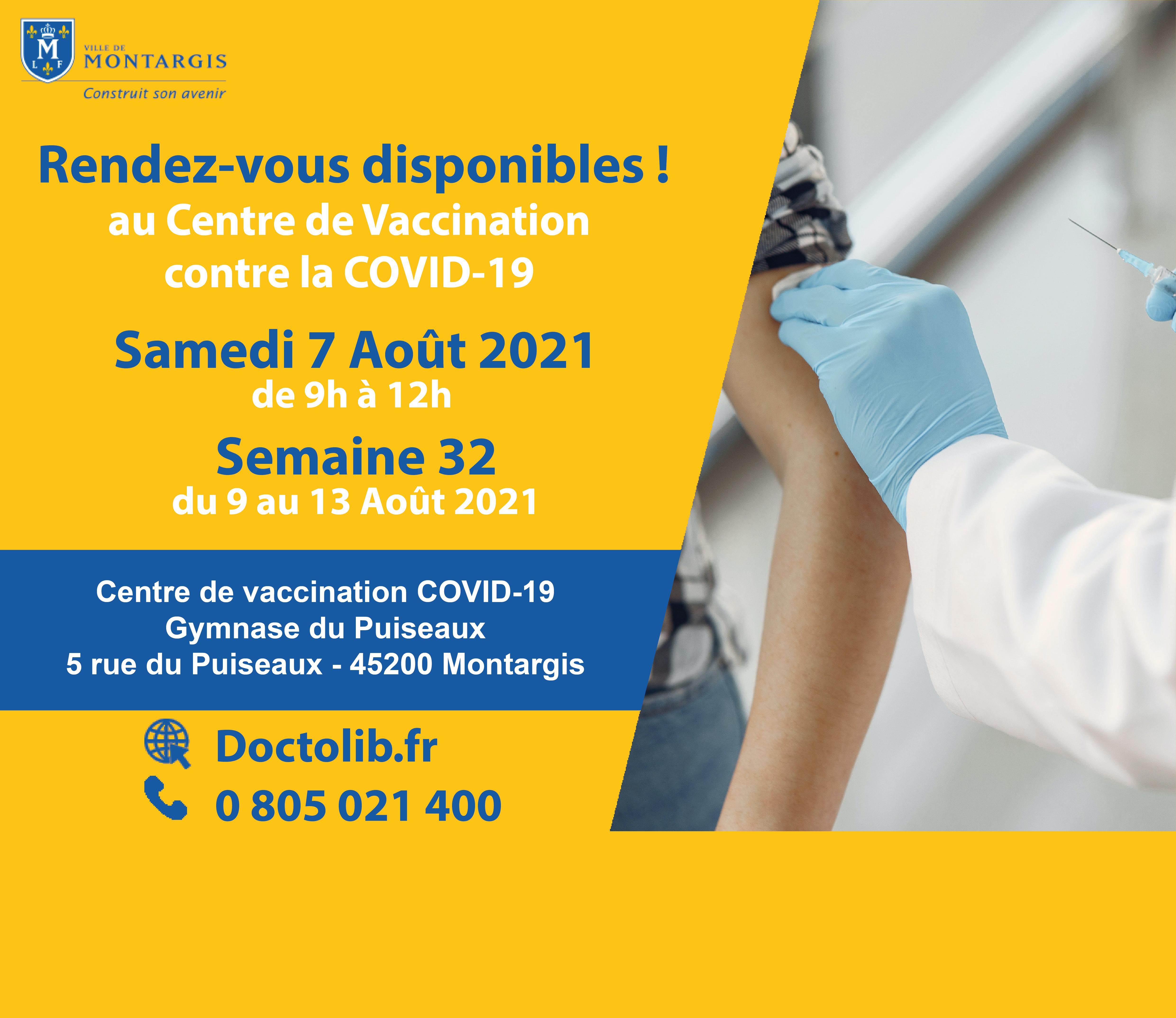 CRÉNEAUX DE VACCINATION DISPONIBLES