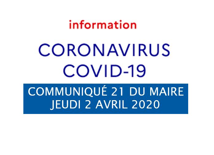 COMMUNIQUÉ DU MAIRE 21: Coronavirus COVID-19