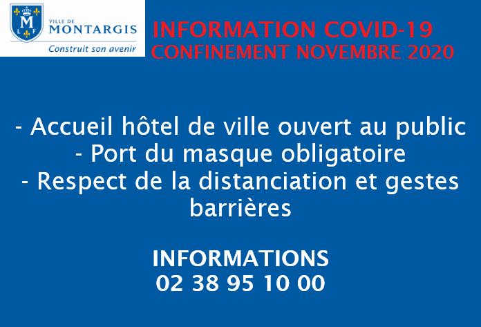 Confinement de novembre 2020:  l'Hôtel de ville ouverte au public