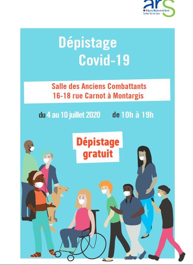 DÉPISTAGE COVID 19 GRATUIT SALLE CARNOT MONTARGIS