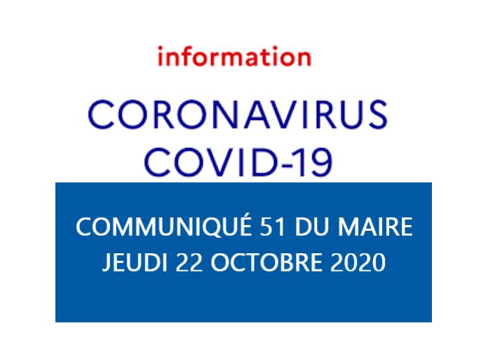 COMMUNIQUÉ DU MAIRE N°51 - INFORMATIONS CORONAVIRUS