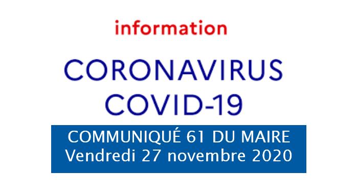 COMMUNIQUE DU MAIRE 61: Coronavirus Covid-19